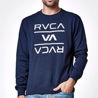 RVCA Reversed Crew Neck Sweatshirt - Mens Hoodie - Blue