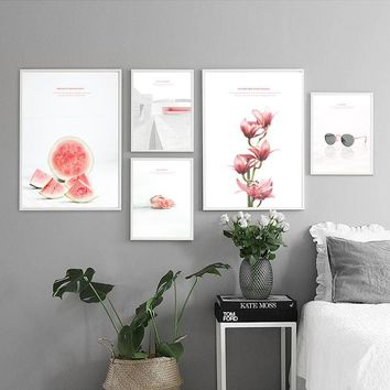 Glasses Watermelon Flower House Fashion Simple Life Canvas Painting Poster Wall Decoration Art Picture Modern Home Decor