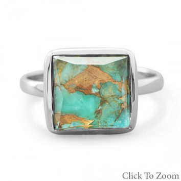 Women's Faceted Clear Quartz Over Turquoise Ring