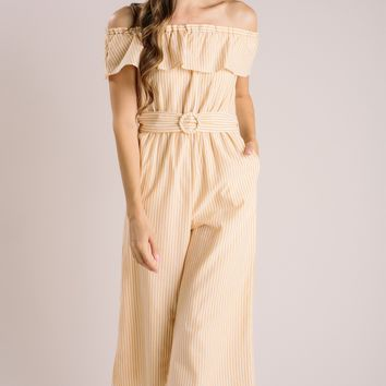 Aidan Yellow Striped Off the Shoulder Jumpsuit