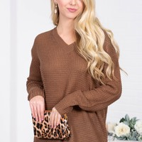 Winter Knit Sheer Sweater | Brown