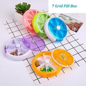 7 Grid Portable Pocket Pill Case Fruit Pattern Medicine Box Round Jelwelry Earring Organizer