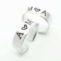 Personalized promise rings - His and hers rings - Customized couple rings - Boyfriend girlfriend rings - Silver tone aluminum rings