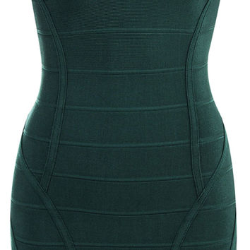 Clothing : Bandage Dresses : 'Jenna' Evergreen V Neck Bandage Dress