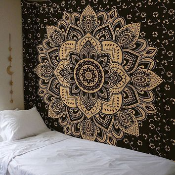 Cilected Indian Mandala Tapestry Wall Hanging Lotus Printed Hippie Tapestry Decorative Wall Blanket Table Cloth 148X200Cm