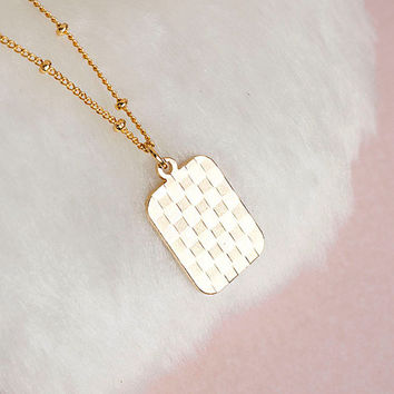 SALE - Gold Checked Charm Satelite Chain Necklace, Damier Hologram