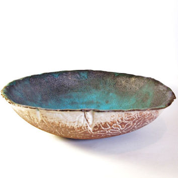 Small Ceramic Turquoise Salad Bowl, Ocean Treasure, Made to Order