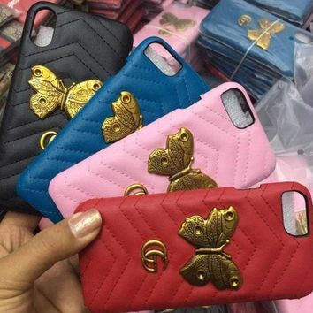 DCCKJ1A GUCCI Metal butterfly cortex phone case shell  for iphone 6/6s,iphone 6p/6splus,iphone 7/8,iphone 7p/8plus, iphonex