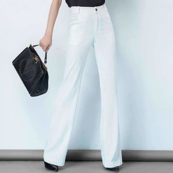 2018 new summer and autumn Fashion casual OL high waist linen young female women girls flare striped pants trousers clothes