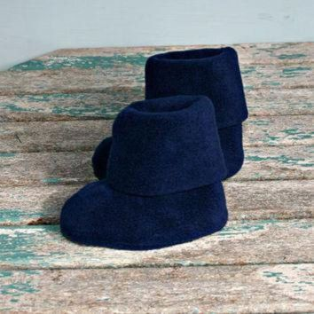 DCCK8X2 Navy blue polar fleece warm winter baby booties boots uggs style handmade 3 -6m pram c