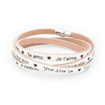 "FRONAY ""I Love You"" Genuine Italian Leather Wrap Bracelet Engraved 23 Languages, 925 Silver - Beige"