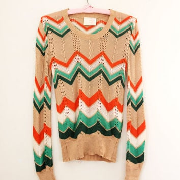 Vintage '70s Knit Chevron Print Shirt - Missoni Style Sweater - Size Small
