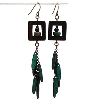 Wood Framed Brown And Green Long Statement Earrings