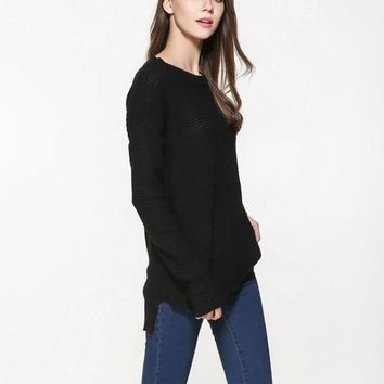 Womens Relaxed Fit Round Neck Sweater in Black