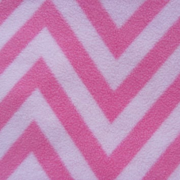 5 Continuous Yards Pink Chevron Anti-Pill Fleece Fabric Crafting, Sewing, Home Decor, Apparel, Washable