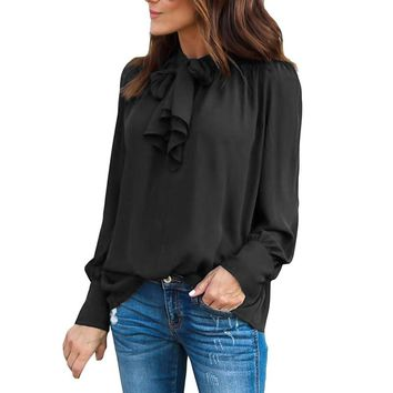 Lace up Bow Front Lantern Long Sleeve Women Blouse