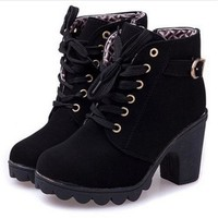 ICIKG7J New platform high heel single shoes vintage Women Motorcycle Boots Martin Boots = 1946356164