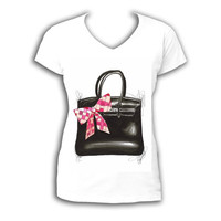 Fashion Shirt, Printed Shirt, Personalized Shirt, Custom Made T-shirt, Made Of My Original, Hermes bag illustration, women clothing