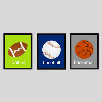 Sports Football Baseball Basketball CUSTOMIZE YOUR COLORS 8x10 Prints Set of 3, nursery boys kids decor nursery print art baby room decor