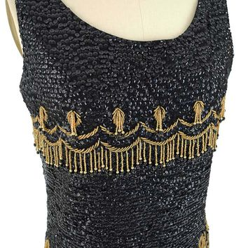 60s Black Gold Beaded Sequined Fringe Top