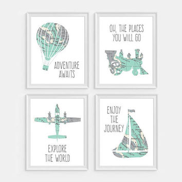 Travel Wall Art, Boys Nursery Wall Decor, Airplane, Train, Hot Air Balloon, Boat, Nursery Decor, Boys Wall Decor, Transportation Print