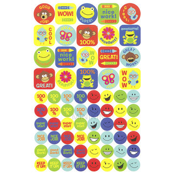340 Children's Kids Reward Stickers Smiley Faces School Teacher Merit Classroom