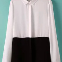 Black and White Color Block Lapel Long Sleeve Chiffon Blouse