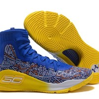 [Free Shipping ]Under Armour Curry 4  Polar Blue /Yellow  Basketball Sneaker
