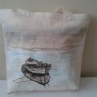 Beach Bag, Large Tote Bag, Eco Friendly Canvas Bag,Hand painted Old Row Bag,