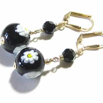 Venetian Glass Millefiori Daisy Black Ball Dangle Gold Earrings, Italian Jewelry