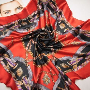 ESBU3C 90cm*90cm The new chain belt splicing women H spring silk scarves large square scarf