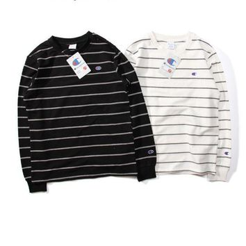ICIK8H2 Champion Striped Long-Sleeved Round Neck Sweater