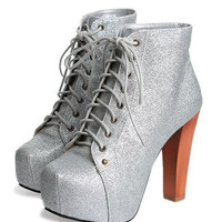 Silver Stardust Chunky Heel Boot