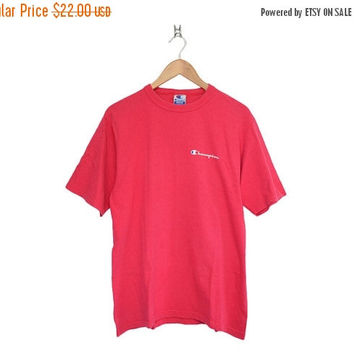Closing Sale / 70% Off Vintage Champion Athletics Hot Pink Crewneck T-Shirt, Made in USA