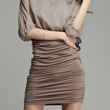 Khaki Batwing Sleeves Ruched Mini Dress