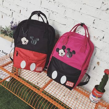 Mickey minnie PU Backpack For Teenage Girls big capacity Women's Black Cartoon Print Travel Bags Cute School Bags