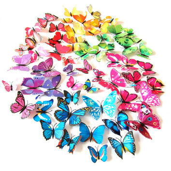 New 12Pcs/set DIY 3D Butterfly Wall Stickers