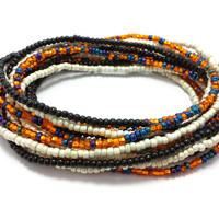Seed bead wrap stretch bracelets, stacking, beaded, boho anklet, bohemian, stretchy stackable multi strand, black, white ivory blue orange
