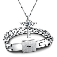 2014 New Fashion Couples Jewelry sets Silver His and Hers White Cubic Zirconia Key Pendant Necklace And Titanium Steel Lock Link Chain Bracelet Bangle,Valentines Gift BY EZMAX (With Thanksgiving&Christmas Gift Box)= 1929818884