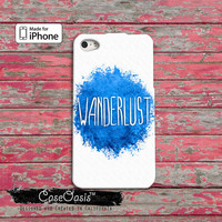 Wanderlust Quote Watercolor Paint Splatter Cute Tumblr Custom iPhone 4/4s Case and iPhone 5 and 5s and 5c Case iPhone 6 and iPhone 6 Plus
