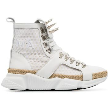 Raw Spike Mesh High Top Sneakers by MARQUES'ALMEIDA
