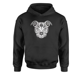 Sugar Skull Pitbull Day Of The Dead Youth-Sized Hoodie