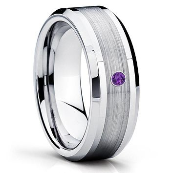 Amethyst Wedding Band - Tungsten Wedding Band - Silver Tungsten Ring