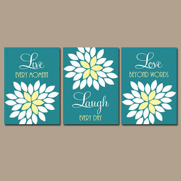 Live Laugh Love Wall Art Teal Yellow Artwork Bedroom Pict