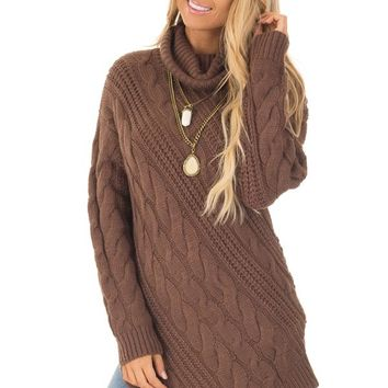 Chocolate Chunky Knit Asymmetrical Turtleneck Sweater