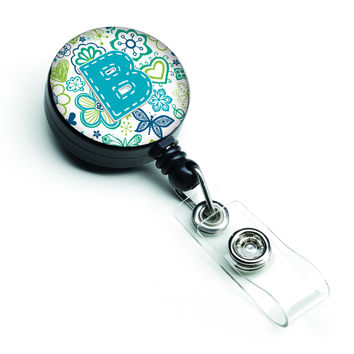 Letter B Flowers and Butterflies Teal Blue Retractable Badge Reel CJ2006-BBR