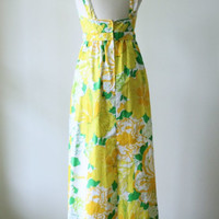 Vintage 1970s Dress 70s Maxi Dress Lilly Pulitzer Dress Womens Summer Dress 1970s Maxi Dress Floral Sun Dress Exposed Back Size Small