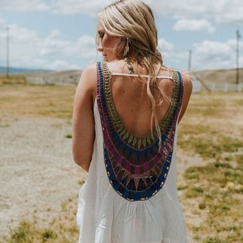 Up At Dawn Crochet Back Tunic Top