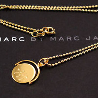 NEW MARC JACOBS SPINING 'I LOVE YOU' GOLD NECKLACE AUTHENTIC