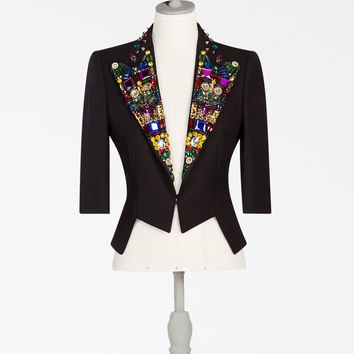 Jackets for women, vests and blazers | Dolce&Gabbana - SHORT JACKET WITH JEWEL LAPELS